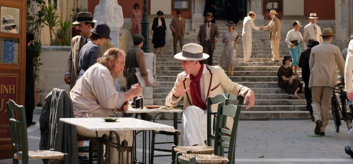 Captain Creech (James Cosmo) and Larry Durrell (Josh O'Connor) cross paths in Athens (Photo Credit: Courtesy of Joss Barratt for Sid Gentle Films & MASTERPIECE)