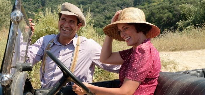 Spiro (ALEXIS GEORGOULIS) & Louisa Durrell (KEELEY HAWES) (Photo Credit: Courtesy of Joss Barratt for Sid Gentle Films & MASTERPIECE)