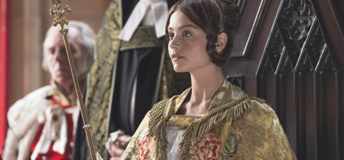 Jenna Coleman on the throne she apparently plans to keep for a while. (Photo: Photo: Courtesy of ITV Plc)