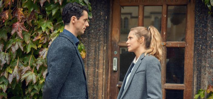 "Matthew Goode and Teresa Palmer in ""A Discovery of Witches"" (Photo: Sky One)"