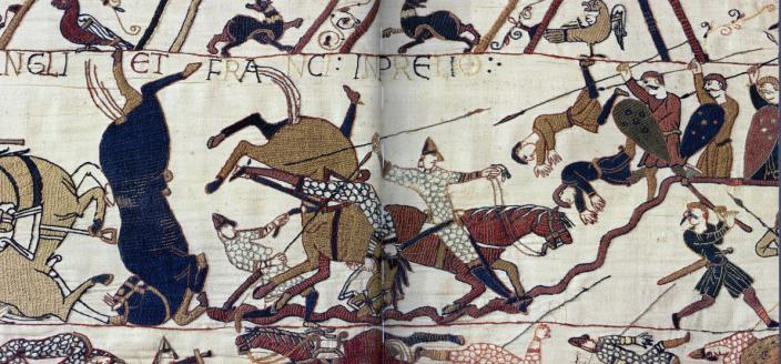 A battle detail from the Bayeux Tapestry. Public Domain.