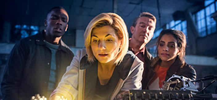 """Jodie Whittaker, Mandip Gil, Bradley Walsh and Toisin Cole in """"Doctor Who"""" Season 11 (Photo: BBC America)"""
