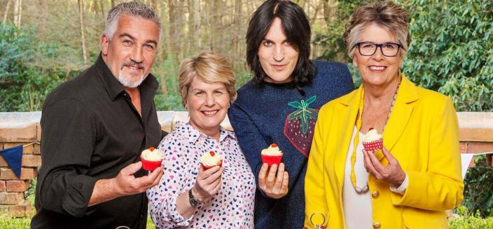 "The hosts of the Channel 4 version of ""The Great British Baking Show"": Paul Hollywood, Noel Fielding, Sandi Toksvig, and Prue Leith (Photo: Channel 4/Love Productions)"
