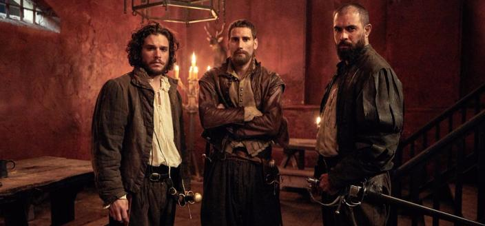 "Kit Harington, Edward Holcroft and Tom Cullen in ""Gunpowder"" (Photo: BBC)"