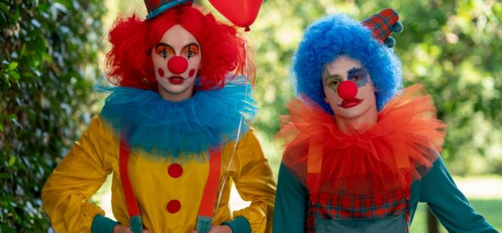 Killing Eve Season 3, literally sending in the clowns. (Photo: Des Willie/BBC America)