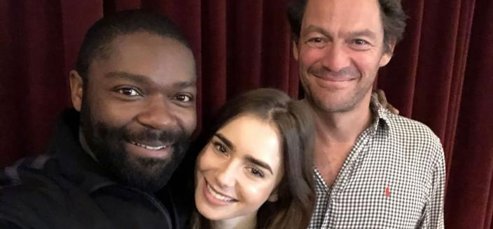 "Dominic West, David Oyelowo and Lily Collins at the ""Les Miserables"" read through (Photo: BBC/PBS)"