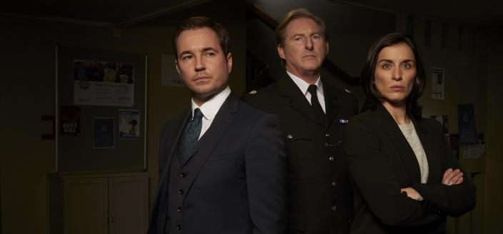 Line of Duty cast Martin Compston, Adrian Dunbar and Vicky McClure (Photo credit: Courtesy of BBC Drama, World Productions and Acorn Media)