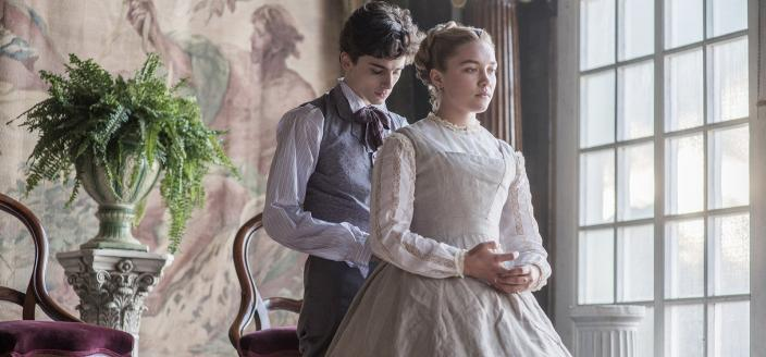 Florence Pugh with Timothee Chalamet in the 2019 film Little Women (Photo credit courtesy of Columbia Pictures)