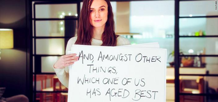 "Keira Knightley in a shot from the ""Love Actually"" sequel trailer. (Photo: NBC)"