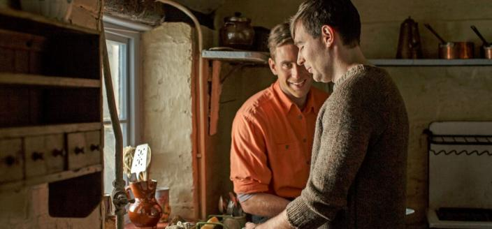 "James McArdle and Oliver Jackson-Cole in ""Man in an Orange Shirt"" (Photo: BBC)"