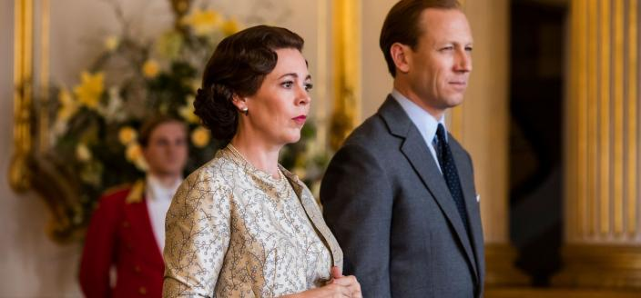 "Olivia Colman and Tobias Menzies in ""The Crown"" Season 3 (Photo: Netflix)"