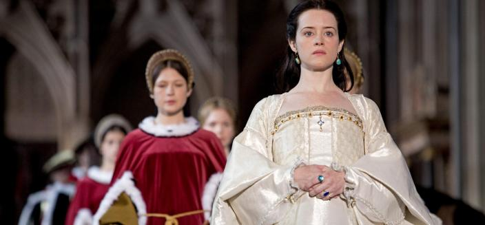 """Claire Foy as Anne Bolyen in """"Wolf Hall"""" (Photo: Courtesy of Ed Miller/Playground & Company Pictures for MASTERPIECE/BBC)"""