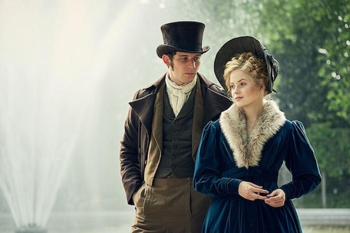 Marius Pontmercy (Josh O'Connor) and Cosette (Ellie Bamber). Photo credit: Courtesy of BBC. Photographer: Robert Viglasky