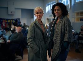 Victoria Hamilton as Chief of Staff Anna Marshall and Marsha Thomason as Francine Bridge MP. Credit: Courtesy of © Sky UK Limited.