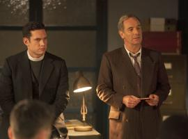 Tom Brittney as Rev. Will Davenport and Robson Green as DI Geordie Keating in 'Grantchester' Season 6