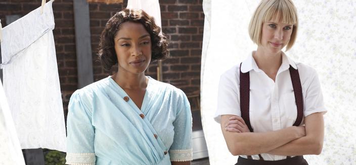 """Lauren Lee Smith and Chantel Riley in """"Frankie Drake Mysteries"""". (Photo: CBC)"""