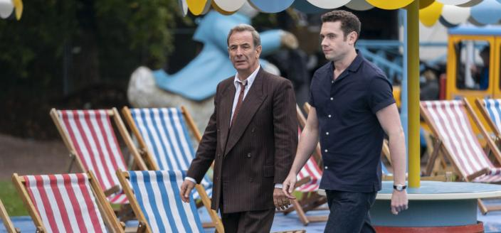 Robson Green as DI Geordie Keating and Tom Brittney as Rev. Will Davenport