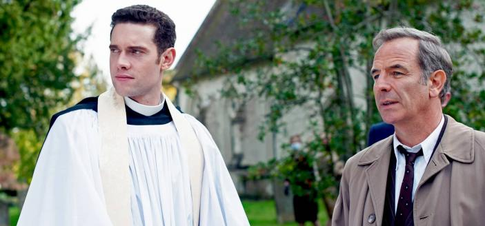 Robson Green as DCI Geordie Keating and Tom Brittney as Rev. Will Davenport in Grantchester Season 6