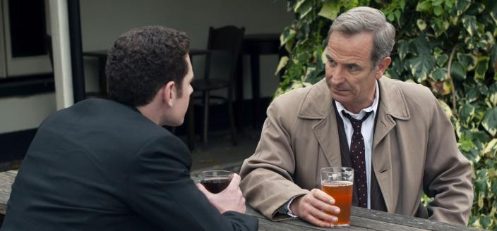 Tom Brittney as Rev. Will Davenport and Robson Green as DI Geordie Keating in Grantchester Season 6