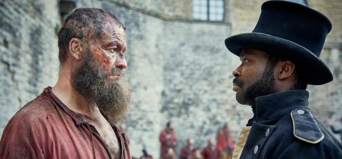 Valjean and Javert face off for the first of many times (Photo: Courtesy of Robert Viglasky / Lookout Point)