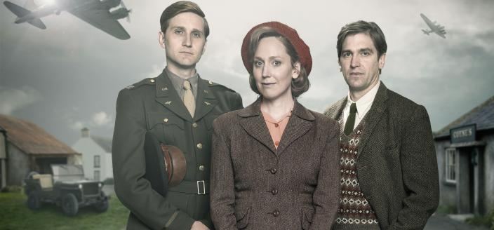 """Aaron Stanton, Hattie Morahan and Owen McDonnell in they key art for """"My Mother and Other Strangers"""" (Photo:  Courtesy of Steffan Hill/BBC 2016 for MASTERPIECE)"""