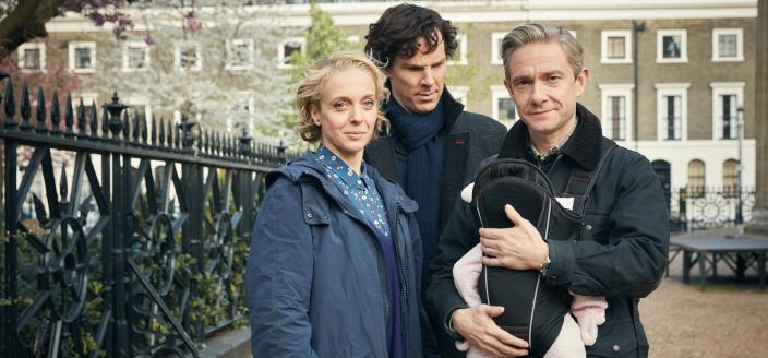 Amanda Abbington, Benedict Cumberbatch and Martin Freeman in the cutest family photo ever. (Photo: Courtesy of Robert Viglasky/Hartswood Films 2016 for MASTERPIECE)
