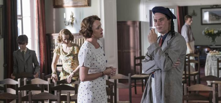 Louisa (Keeley Hawes) tries to reassure Larry (Josh O'Connor) at the book reading       (Photo: courtesy of John Rogers/Sid GentleFilms for ITV and Masterpiece)