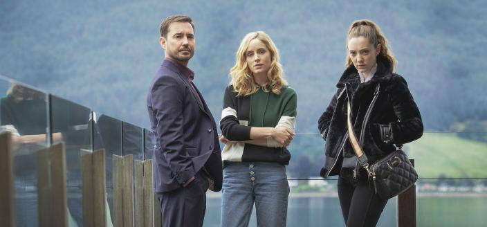 Sophie Rundle as Emily, Mirren Mack as Kaya and Martin Compston © Studio Lambert and all3media international