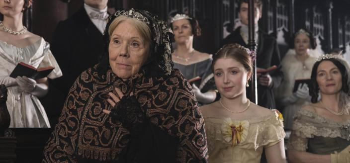 Diana Rigg as the Duchess of Buccleuch and Bebe Cave as Wilhelmina Coke  (Image courtesy of ©ITVStudios2017 for MASTERPIECE)