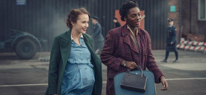 Julia Brown (as Lois Bennett) and Yrsa Daley-Ward (as Connie Knight). Credit: Courtesy of Ben Blackall / © Mammoth Screen 2019
