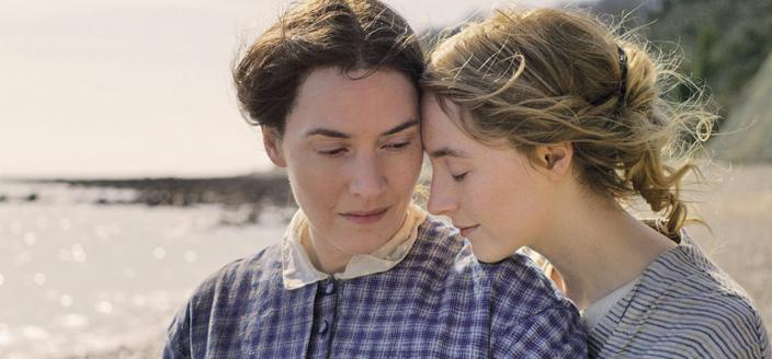 Mary Anning (Kate Winslet) and Charlotte Murchison (Saoirse Ronan). Credit: Neon.