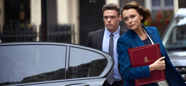 Richard Madden as David Budd and Keeley Hawes as Julia Montague in Bodyguard (Photo:Des Willie © ITV Studios Global Entertainment)