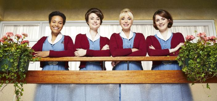 Leonie Elliott as Lucille, Jennifer Kirby as Valerie, Helen George as Trixie, Charlotte Ritchie as Barbara in Call the Midwife Season 7 (Photo: Courtesy of Neal Street Productions 2018)
