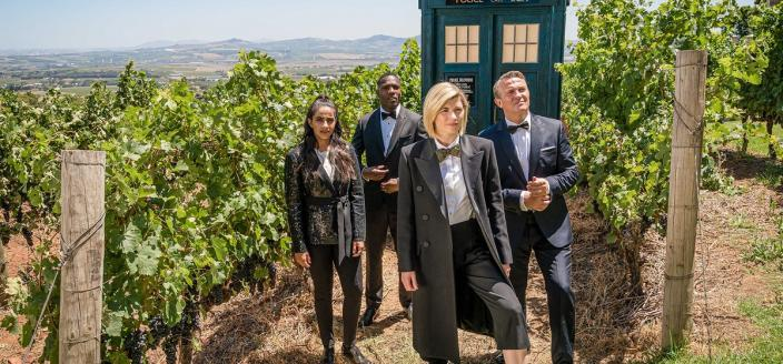"""Jodie Whittaker, Bradley Walsh, Tosin Cole and Mandip Gil in """"Doctor Who"""" (Photo: BBC America)"""