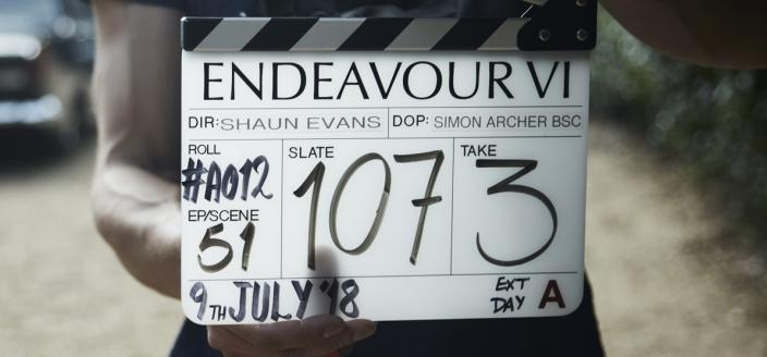 "A production slate from the start of ""Endeavour"" Season 6 filming. (Photo Credit: Courtesy of ITV and MASTERPIECE)"