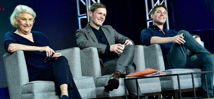 Rebecca Eaton, Shaun Evans and Tom Brittney at the 2019 TCAs (Photo: Rahoul Ghose/PBS)