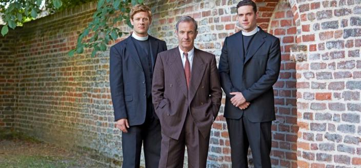 "James Norton, Tom Brittney and Robson Green in ""Grantchester Season 4 (Photo: Courtesy of Colin Hutton/Kudos, an Endemol Shine Company, MASTERPIECE and ITV)"