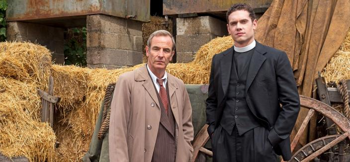 "Tom Brittney and Robson Green in ""Grantchester"" (Photo: Courtesy of Colin Hutton/Kudos, an Endemol Shine Company, MASTERPIECE and ITV)"