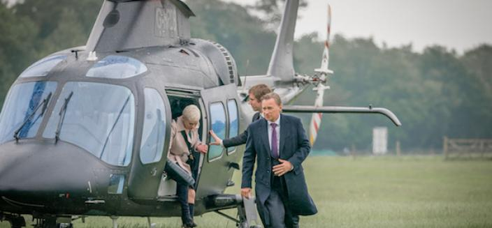 Chief of Staff Anna Marshall (Victoria Hamilton) and Prime Minister Robert Sutherland (Robert Carlyle). Credit: Courtesy of © Sky UK Limited.