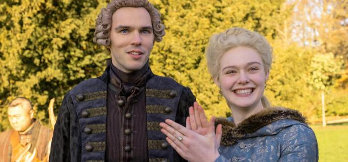 "Elle Fanning and Nicholas Hoult in ""The Great"" (Photo: Hulu)"