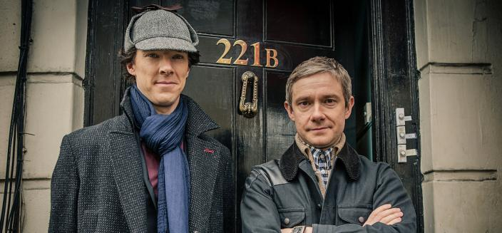 "Benedict Cumberbatch and Martin Freeman in ""Sherlock"". (Photo: BBC/Robert Viglasky/Hartswood Films for MASTERPIECE)"