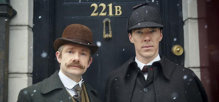 "A very Victorian Benedict Cumberbatch and Martin Freeman from ""Sherlock"" special ""The Abominable Bride"". (Photo:  Courtesy of © Robert Viglasky/Hartswood Films and BBC Wales for BBC One and MASTERPIECE)"