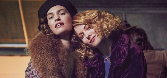 """Lily James and Emily Beechum in """"The Pursuite of Love"""" (Photo: BBC)"""