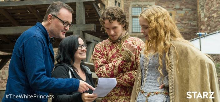 "Jody Comer, Jacob Collins-Levy and ""White Princess"" Producer Emma Frost Photo: Starz)"