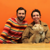 David Tennant, Olivia Colman and an adorable furry guest on his new podcast (Photo: Acast)